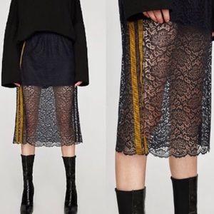 🆕 ZARA Lace Athleisure Wear Skirt Sheer Navy Gold